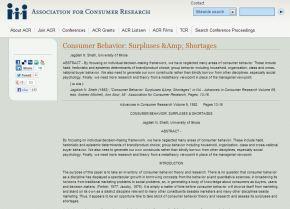 Consumer Behavior: Surpluses &Shortages