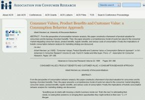 Consumer Values, Product Benefits and Customer Value