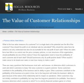 The Value of Customer Relationships