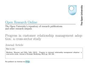 Progress in customer relationship managementadoption